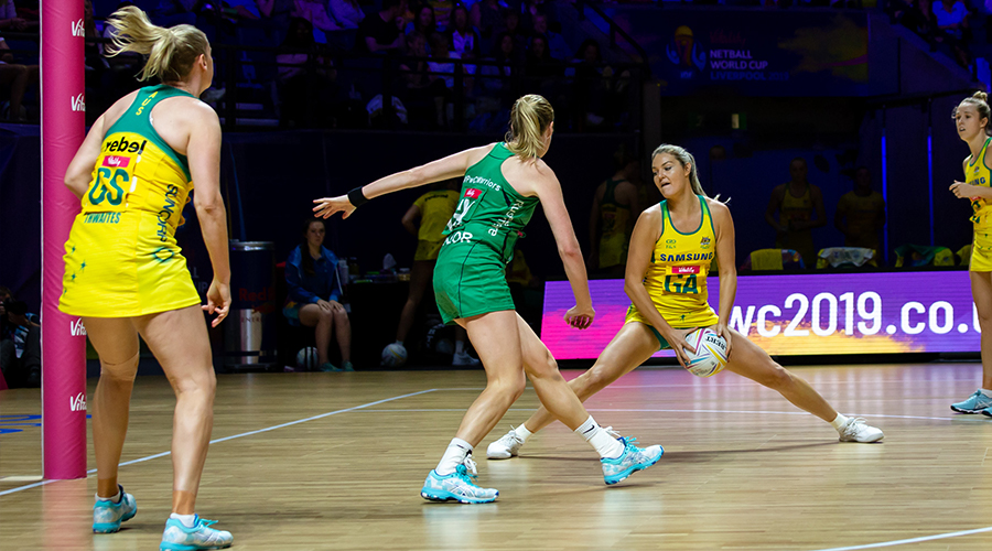 Australian Diamond Gretel Tippett stretches for position against Northern Ireland in match one of the 2019 Netball World Cup in Liverpool's M&S Bank Arena.