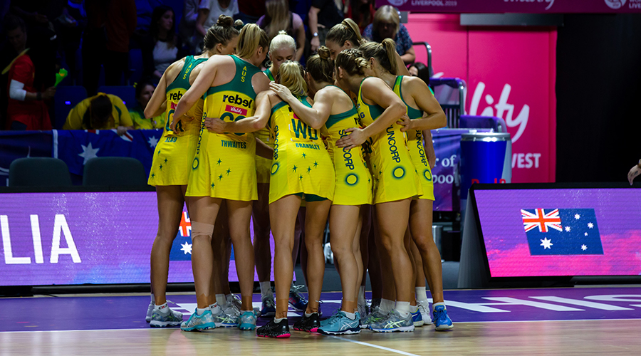 The Australian Diamonds prepare for the 2019 Netball World Gold Medal Match against the New Zealand Silver Ferns in Liverpool.