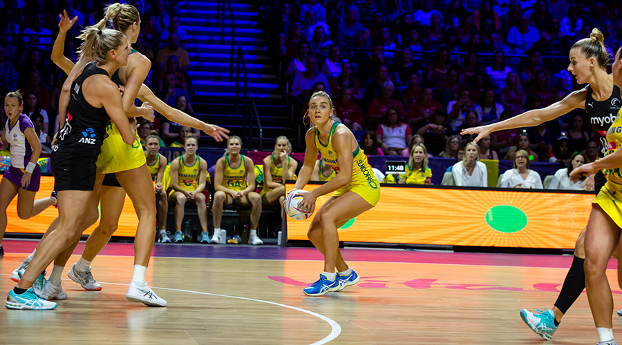 Australian Diamonds vice-captain Liz Watson looks for an open teammate in the gold medal match of the 2019 Netball World Cup in Liverpool.
