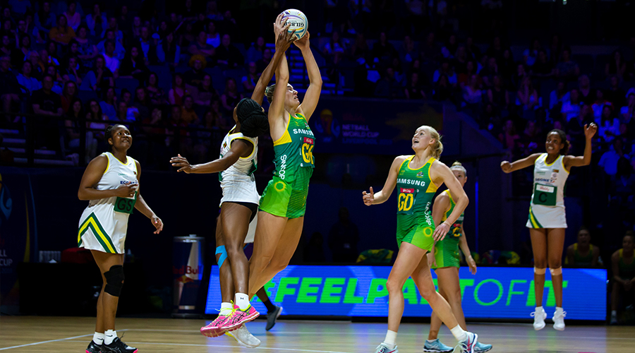 Australian Diamonds goal keeper Courtney Bruce pulls down one of her nine intercepts against Zimbabwe in match two of the 2019 Netball World Cup at M&S Bank Arena in Liverpool.