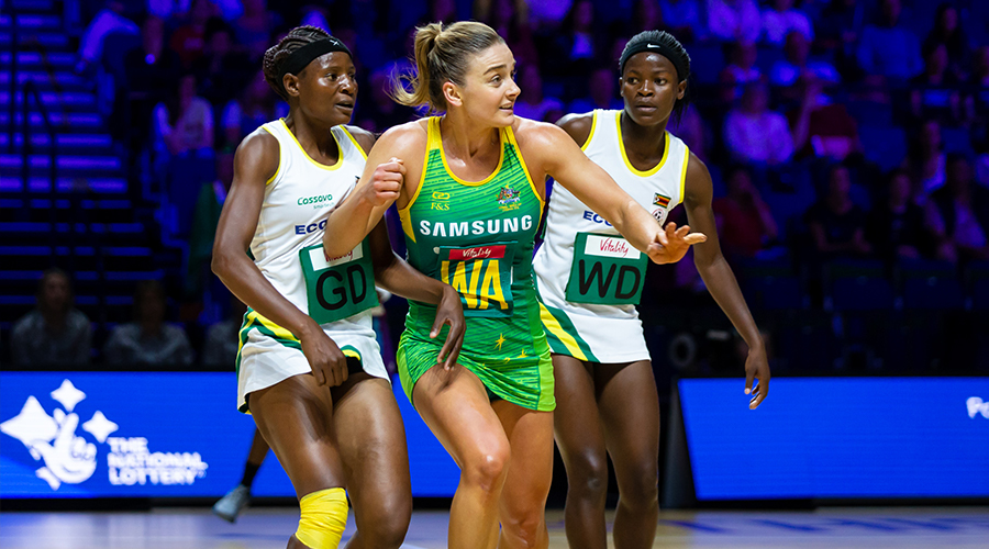 Australian Diamonds vice-captain Liz Watson presents for a pass against Zimbabwe in match two of the 2019 Netball World Cup at M&S Bank Arena in Liverpool.