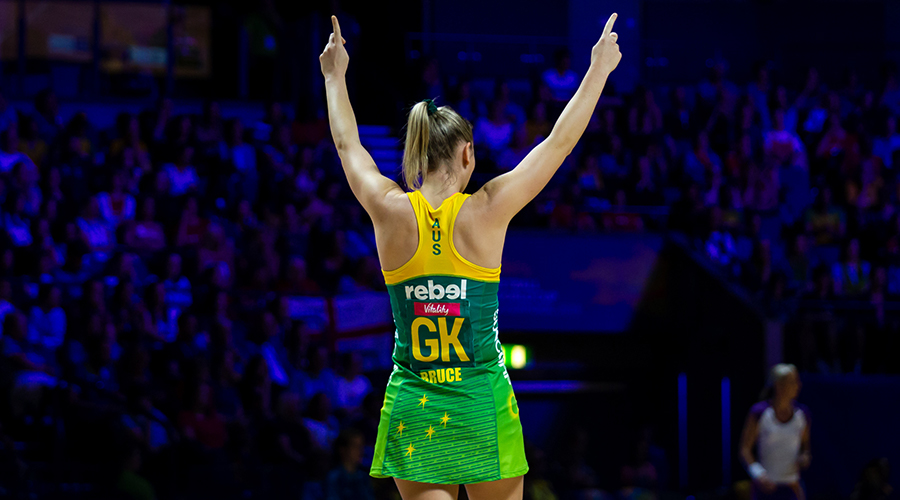 Australian Diamonds defender Courtney Bruce celebrates a goal during the match between Australia and Barbados at the 2019 Netball World Cup in Liverpool.