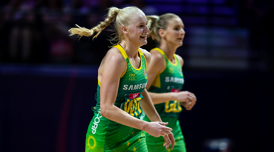 Australian Diamonds defender Jo Weston takes to the court against Barbados at the 2019 Netball World Cup in Liverpool.