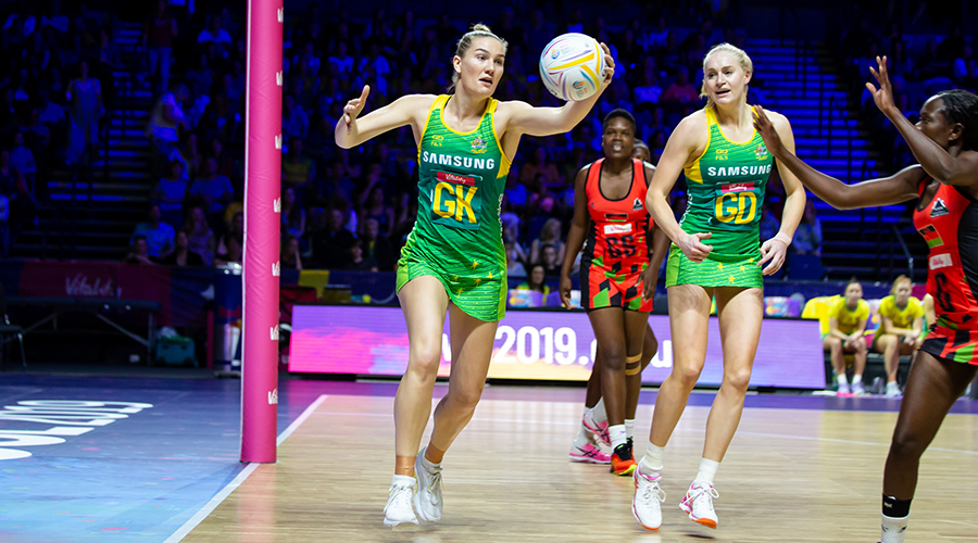 Diamonds defender Courtney Bruce chases down a lose ball against Malawi at the 2019 Netball World Cup at M&S Bank Arena in Liverpool