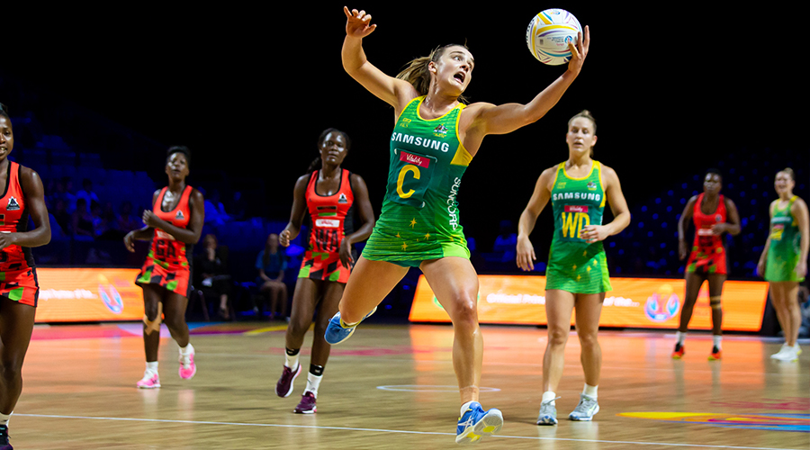Diamonds midcourter Liz Watson take possession of the ball in their match against Malawi at the 2019 Netball World Cup in Liverpool.