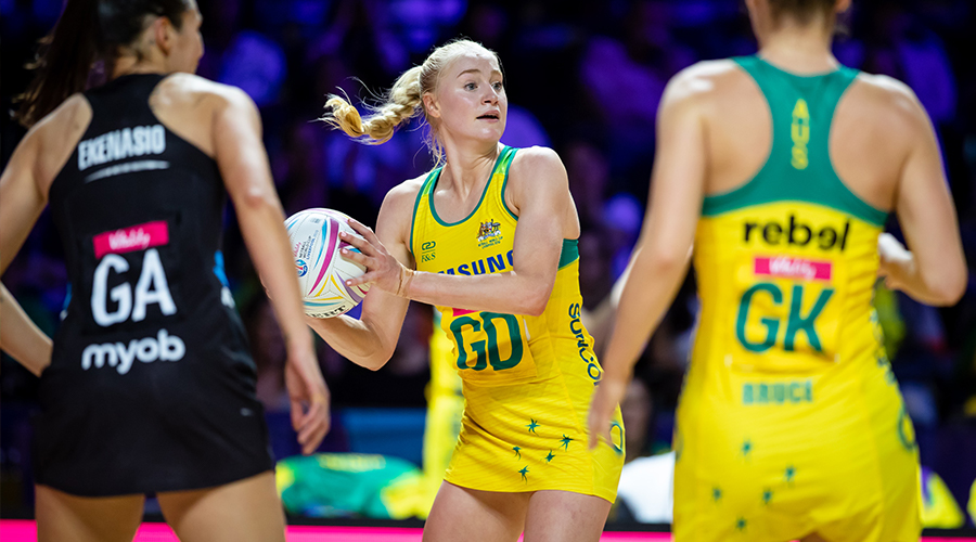 Jo Weston of the Australian Diamonds looks for an open teammate in a match against the New Zealand Silver Ferns at the 2019 Netball World Cup in Liverpool