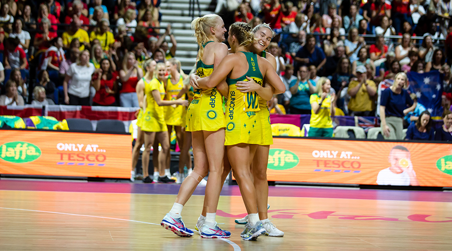 Courtney Bruce, Jo Weston and Jamie-Lee Price after the Australian Diamonds defeat of South Africa at the 2019 Netball World Cup.