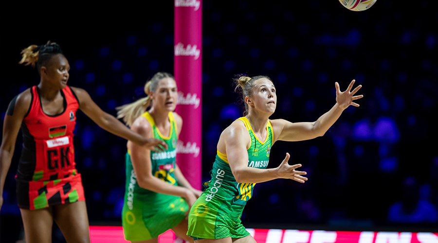 Paige Hadley of the Australian Diamonds takes possession against Malawi at the 2019 Netball World Cup in Liverpool.