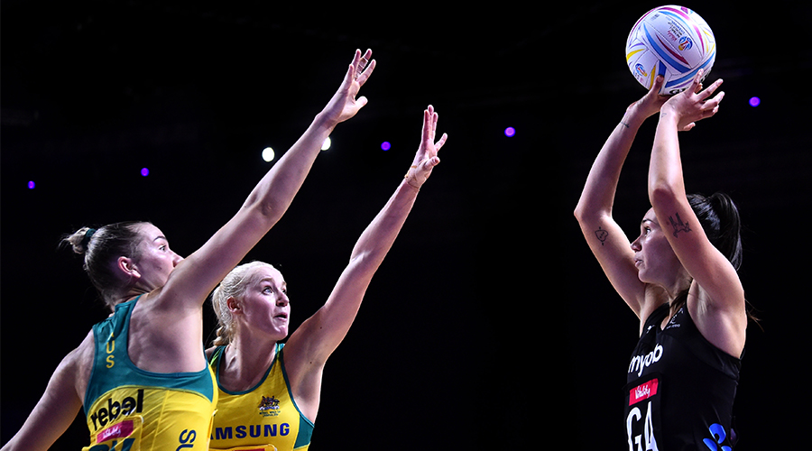 Ameliaranne Ekenasio of New Zealand shoots during the Vitality Netball World Cup Round 3 match between Australia and New Zealand at M&S Bank Arena on July 18, 2019 in Liverpool, England.