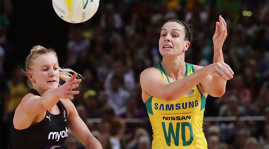 Ash Brazill of Australia passes the ball during the 2019 Constellation Cup match between the Australian Diamonds and the New Zealand Silver Ferns at Qudos Bank Arena on October 20, 2019 in Sydney, Australia.