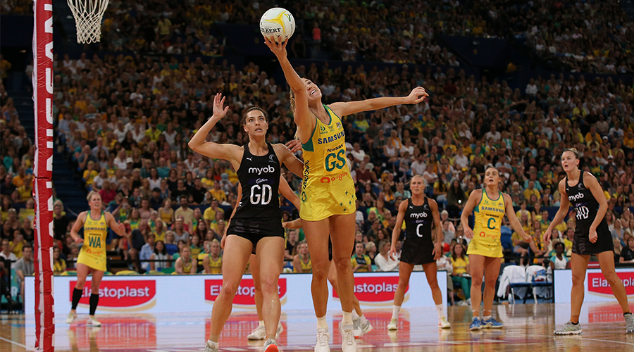 Karin Burger of New Zealand and Caitlin Bassett of Australia in action during the 2019 Constellation Cup match between the Australia Diamonds and the New Zealand Silver Ferns at RAC Arena on October 27, 2019 in Perth, Australia.