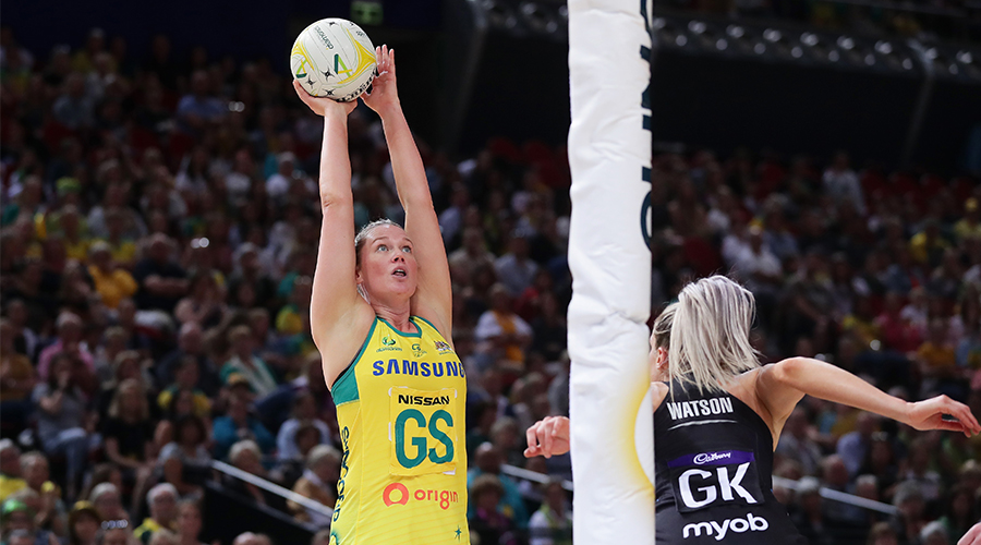 Caitlin Thwaites of Australia shoots during the 2019 Constellation Cup match between the Australian Diamonds and the New Zealand Silver Ferns at Qudos Bank Arena on October 20, 2019 in Sydney, Australia.