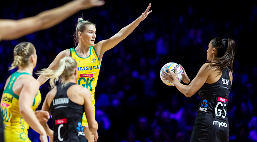 Australian Diamonds defender Courtney Bruce contests New Zealand Silver Ferns shooter Maria Folau's shot in the 2019 Netball World Cup gold medal match in Liverpool.