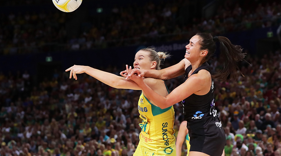 Ameliaranne Ekenasio of New Zealand is challenged by Courtney Bruce of Australia during the 2019 Constellation Cup match between the Australian Diamonds and the New Zealand Silver Ferns at Qudos Bank Arena on October 20, 2019 in Sydney, Australia.