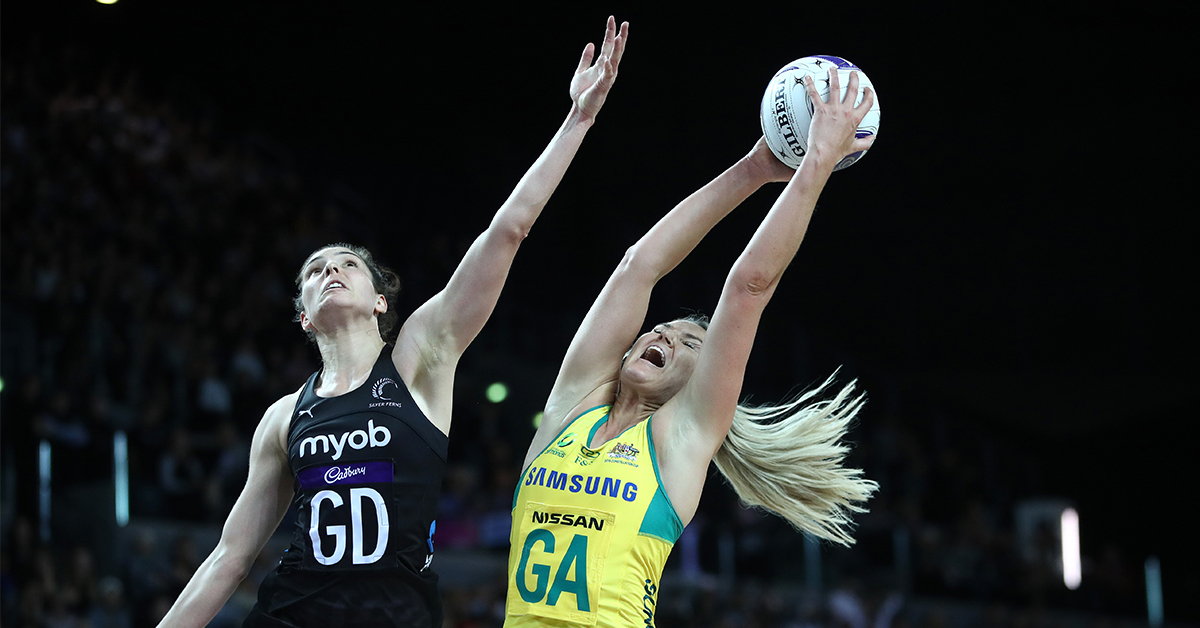 Gretel Tippett of Australia and Karin Burger of New Zealand contest the ball during the 2019 Constellation Cup match between the New Zealand Silver Ferns and the Australia Diamonds at Spark Arena on October 16, 2019 in Auckland, New Zealand.