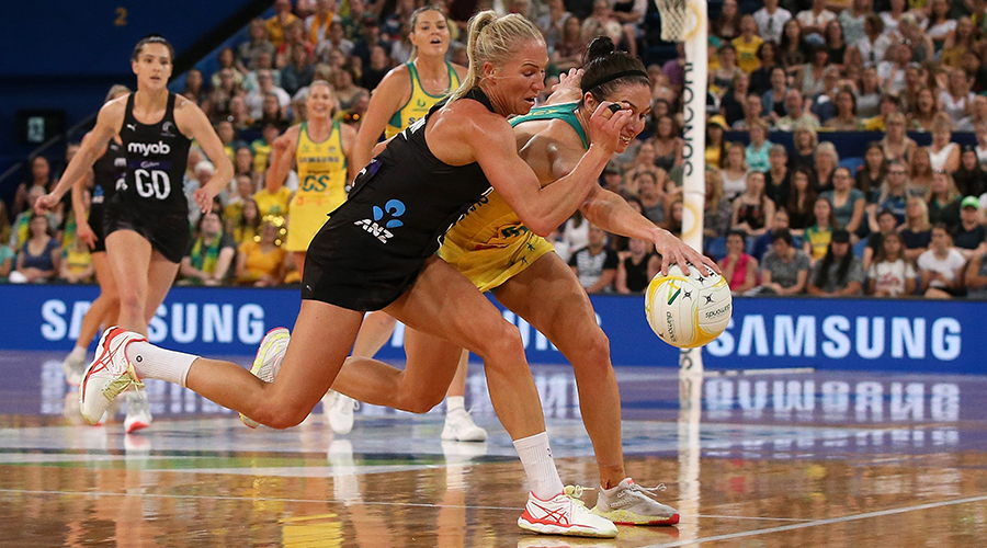 Laura Langman of New Zealand and Ash Brazill of Australia contest for the ball during the 2019 Constellation Cup match between the Australia Diamonds and the New Zealand Silver Ferns at RAC Arena on October 27, 2019 in Perth, Australia.