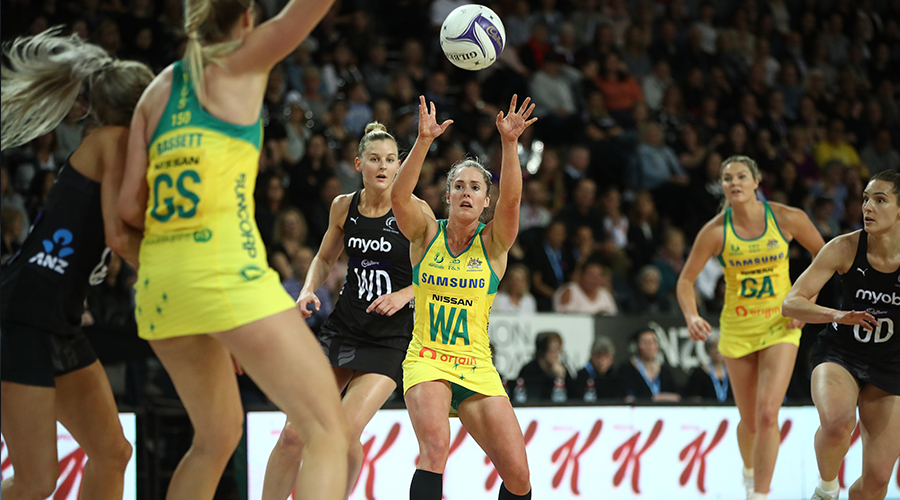 OCTOBER 16: Laura Scherian of Australia passes during the 2019 Constellation Cup match between the New Zealand Silver Ferns and the Australia Diamonds at Spark Arena on October 16, 2019 in Auckland, New Zealand.