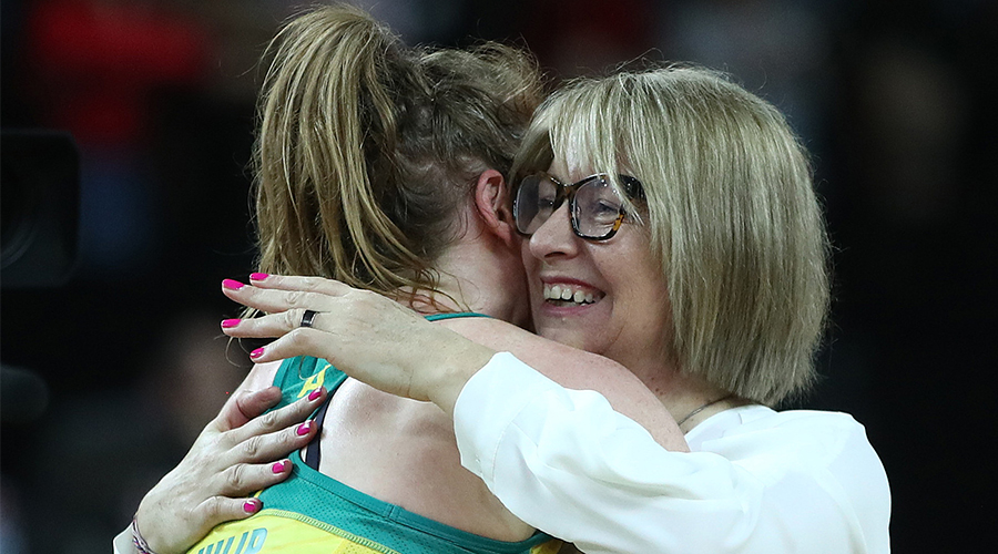 Australia coach Lisa Alexander hugs Tegan Philip following the 2019 Constellation Cup match between the New Zealand Silver Ferns and the Australia Diamonds at Spark Arena on October 16, 2019 in Auckland, New Zealand.