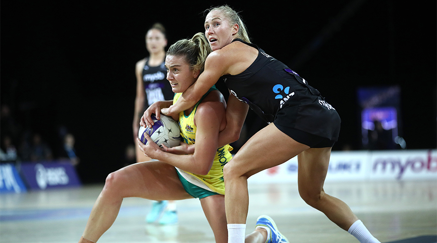 Liz Watson of Australia and Laura Langman of New Zealand contest the ball during the 2019 Constellation Cup match between the New Zealand Silver Ferns and the Australia Diamonds at Spark Arena on October 16, 2019 in Auckland, New Zealand.
