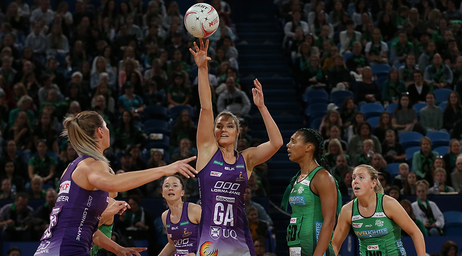 Gretel Tippett of the Firebirds in action during the round 13 Super Netball match between the West Coast Fever and the Queensland Firebirds at RAC Arena on August 18, 2019 in Perth, Australia.
