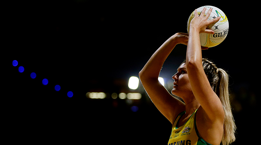 Gretel Tippett of the Diamonds warms up before the 2019 Constellation Cup match between the Australia Diamonds and the New Zealand Silver Ferns at Perth Arena on October 27, 2019 in Perth, Australia.
